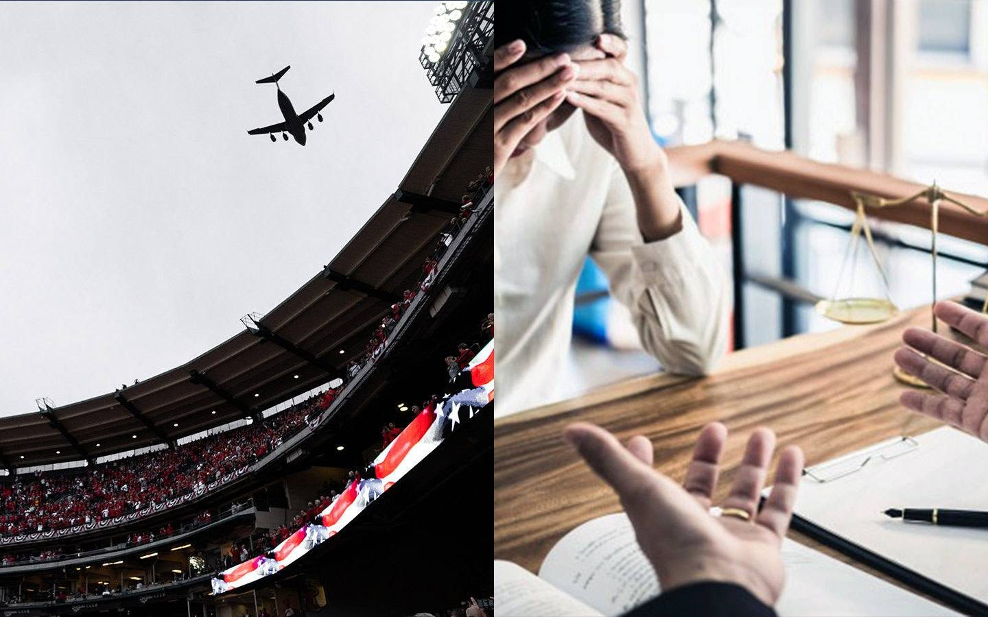 plane flying over sports area and split image of man talking to woman over business desk
